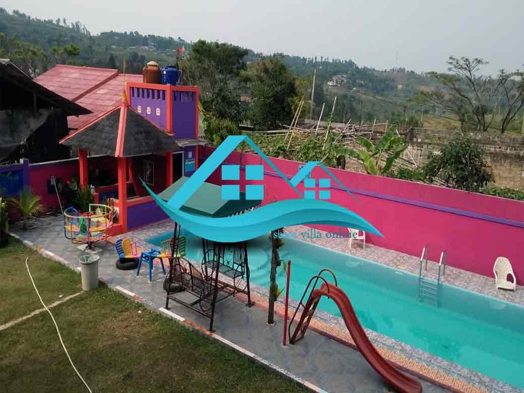 villa murah di puncak ada kolam renang 8 kamar